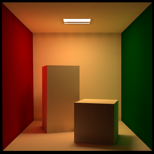 Cornell box rendered using the radiosity system in Blender