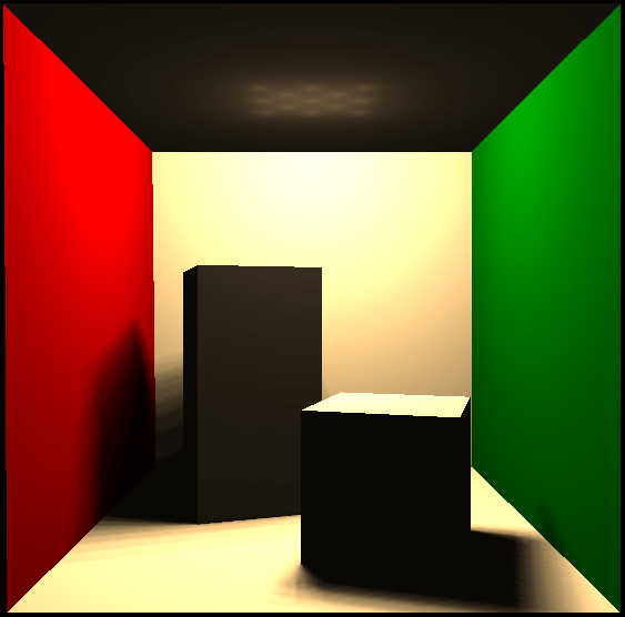 Cornell box rendered using direct lighting only in Lighter2